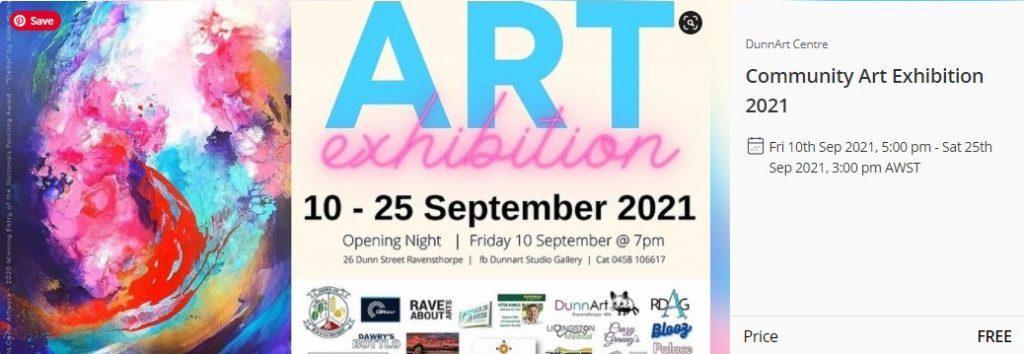 DunnArt Centre Community Art Exhibition 2021 Opening 10th September